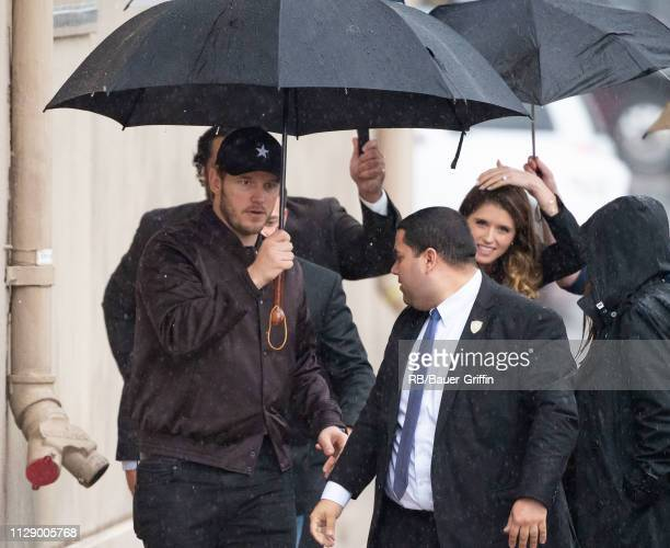 Chris Pratt and Katherine Schwarzenegger are seen at 'Jimmy Kimmel LIve' on March 06 2019 in Los Angeles California