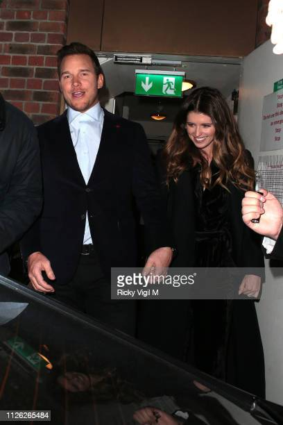 Chris Pratt and Katherine Schwarzenegger seen on a night out leaving Soho House on January 30 2019 in London England