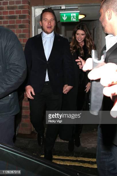 Chris Pratt and Katherine Schwarzenegger seen on a night out leaving Soho House on January 30 2019 in London England