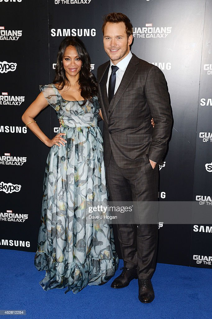 Chris Pratt and Zoe Saldana attend the European premiere of 'Guardians Of The Galaxy' at The Empire Leicester Square on July 24, 2014 in London, England.