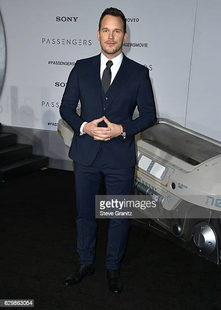 """Chris Pratt arrives at the Premiere Of Columbia Pictures' """"Passengers"""" at Regency Village Theatre on December 14, 2016 in Westwood, California."""