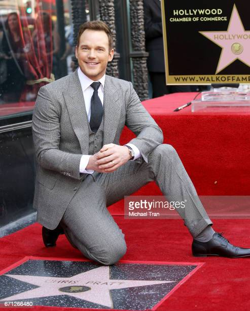 Chris Pratt attends the ceremony honoring him with a Star on The Hollywood Walk of Fame held on April 21 2017 in Hollywood California