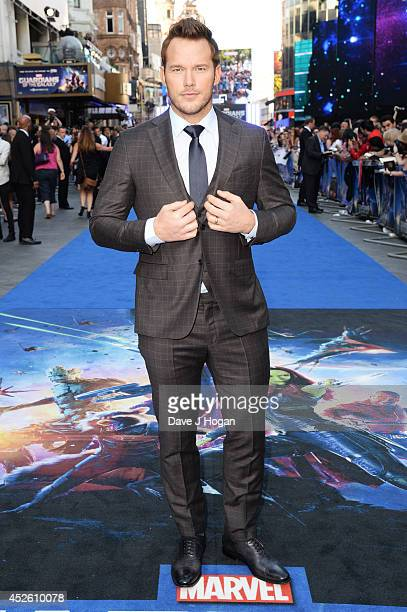 """Chris Pratt attends the European premiere of """"Guardians Of The Galaxy"""" at The Empire Leicester Square on July 24, 2014 in London, England."""