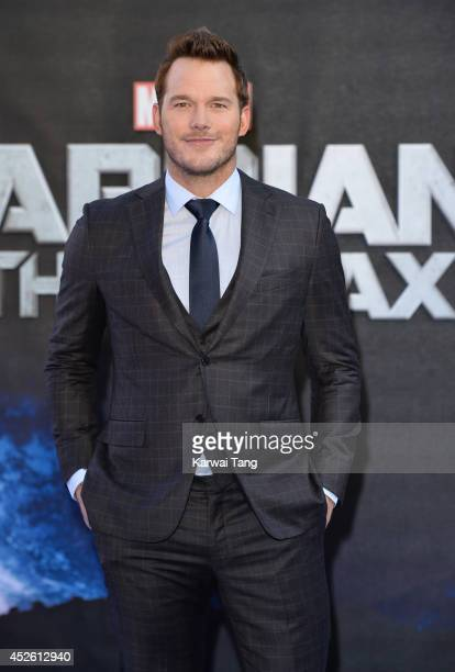 Chris Pratt attends the European Premiere of 'Guardians of the Galaxy' at Empire Leicester Square on July 24 2014 in London England