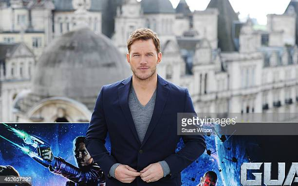 """Chris Pratt attends the """"Guardians of the Galacy"""" photocall on July 25, 2014 in London, England."""