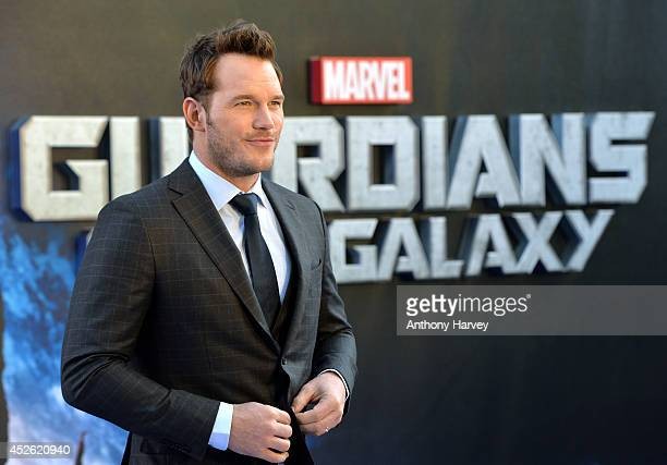 Chris Pratt attends the UK Premiere of Guardians of the Galaxy at Empire Leicester Square on July 24 2014 in London England