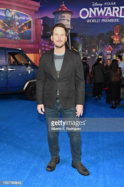 Chris Pratt attends the world premiere of Disney and Pixar's ONWARD at the El Capitan Theatre on February 18, 2020 in Hollywood, California.