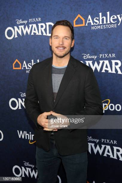 Chris Pratt attends the world premiere of Disney and Pixar's ONWARD at the El Capitan Theatre on February 18 2020 in Hollywood California