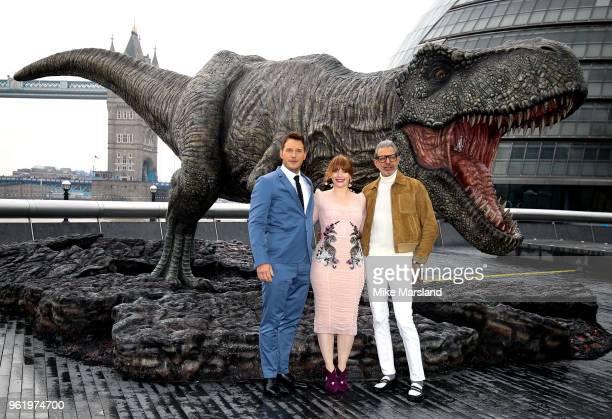 Chris Pratt Bryce Dallas Howard and Jeff Goldblum during the 'Jurassic World Fallen Kingdom' photocall at London Bridge on May 24 2018 in London...