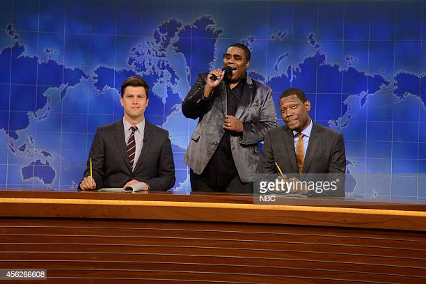 LIVE Chris Pratt Episode 1663 Pictured Colin Jost Kenan Thompson and Michael Che during the Weekend Update Cheer up Obama skit on September 27 2014