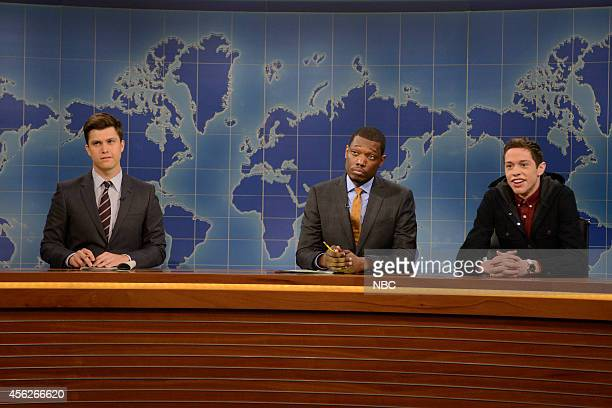 LIVE Chris Pratt Episode 1663 Pictured Colin Jost Michael Che and Pete Davidson as the show's resident young person during the Weekend Update skit on...
