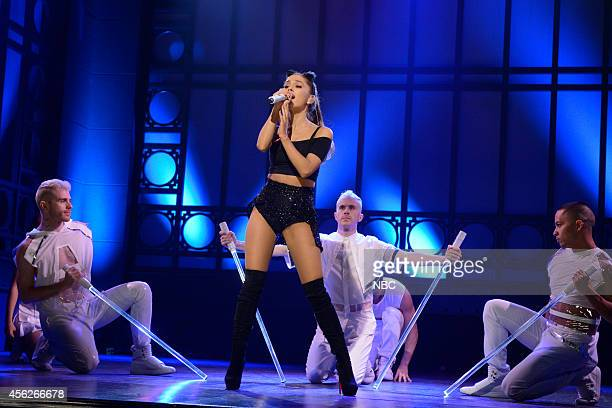 LIVE 'Chris Pratt' Episode 1663 Pictured Musical guest Ariana Grande performs on September 27 2014