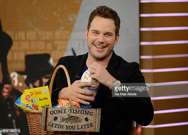AMERICA Chris Pratt from 'The Magnificent Seven' receives a gift during his appearance on GOOD MORNING AMERICA 9/20/16 airing on the ABC Television...