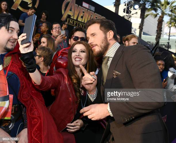 Chris Pratt takes a selfie with fans at the premiere of Disney and Marvel's 'Avengers Infinity War' on April 23 2018 in Los Angeles California