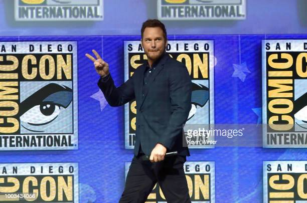 Chris Pratt walks onstage at the Warner Bros 'The Lego Movie 2 The Second Part' theatrical panel during ComicCon International 2018 at San Diego...