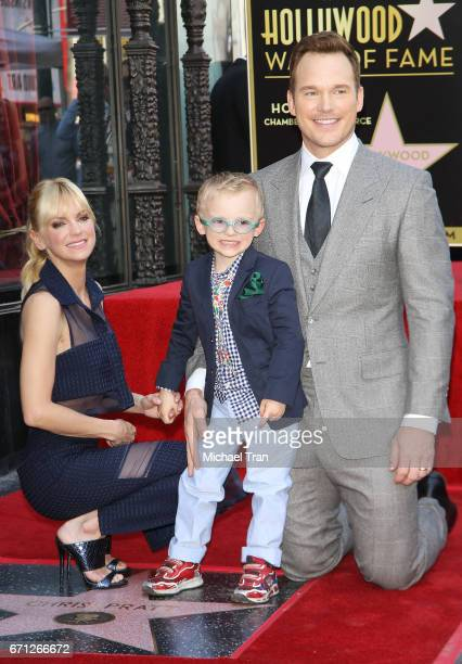 Chris Pratt with Anna Faris and son Jack attend the ceremony honoring Chris Pratt with a Star on The Hollywood Walk of Fame held on April 21 2017 in...