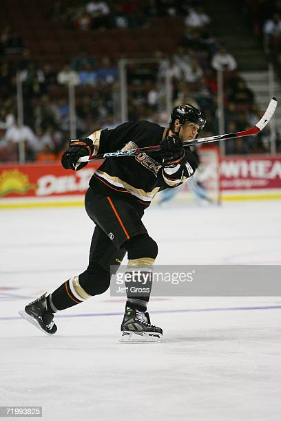 Chris Pronger of the Anaheim Ducks shoots during a preseason game against the San Jose Sharks at the Arrowhead Pond of Anaheim on September 20, 2006...