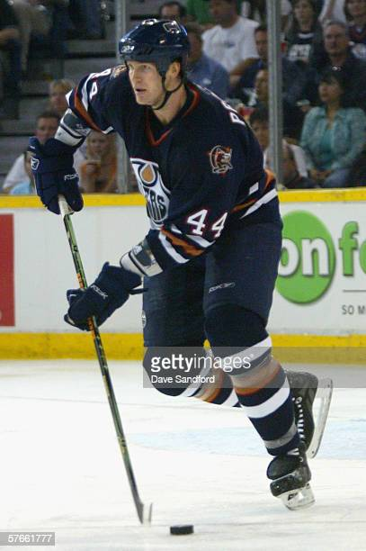 Chris Pronger of the Edmonton Oilers in action during game six of the Western Conference Semifinals against the San Jose Sharks at Rexall Place on...