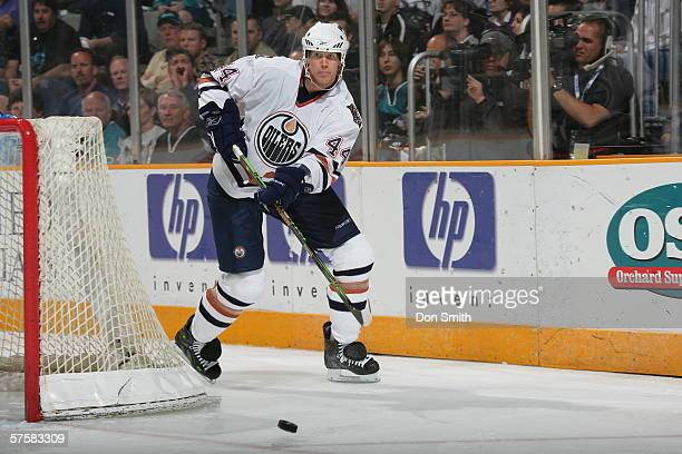 Chris Pronger of the Edmonton Oilers passes the puck during Game 2 of the Western Conference Semifinals against the San Jose Sharks on May 8, 2006 at...