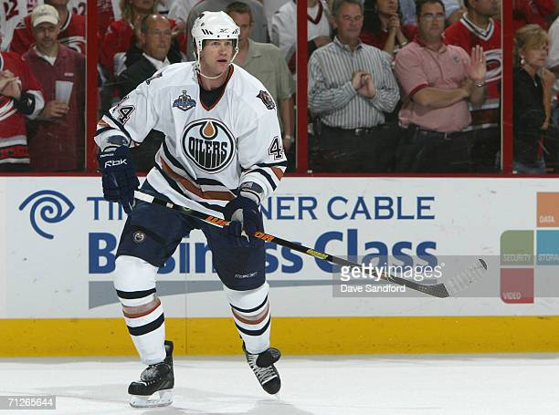 Chris Pronger of the Edmonton Oilers skates against the Carolina Hurricanes during game seven of the 2006 NHL Stanley Cup Finals on June 19, 2006 at...