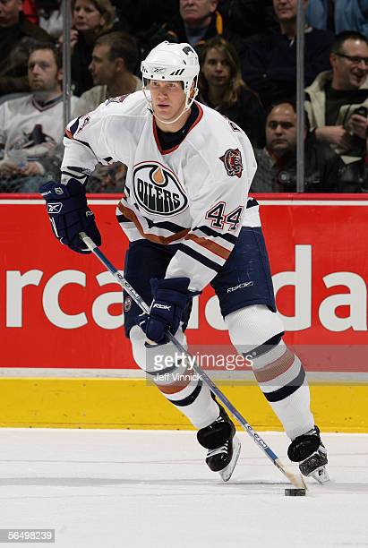 Chris Pronger of the Edmonton Oilers skates against the Vancouver Canucks during their NHL game at General Motors Place on December 17, 2005 in...