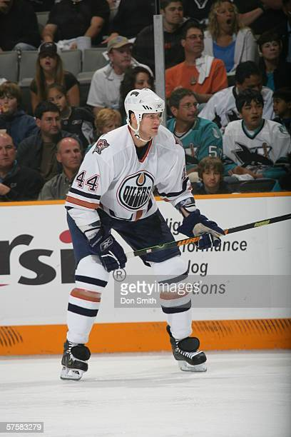 Chris Pronger of the Edmonton Oilers skates during Game 2 of the Western Conference Semifinals against the San Jose Sharks on May 8, 2006 at the HP...