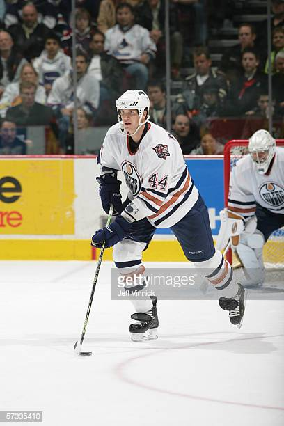 Chris Pronger of the Edmonton Oilers skates with the puck during the NHL game against the Vancouver Canucks on March 25th, 2006 at General Motors...