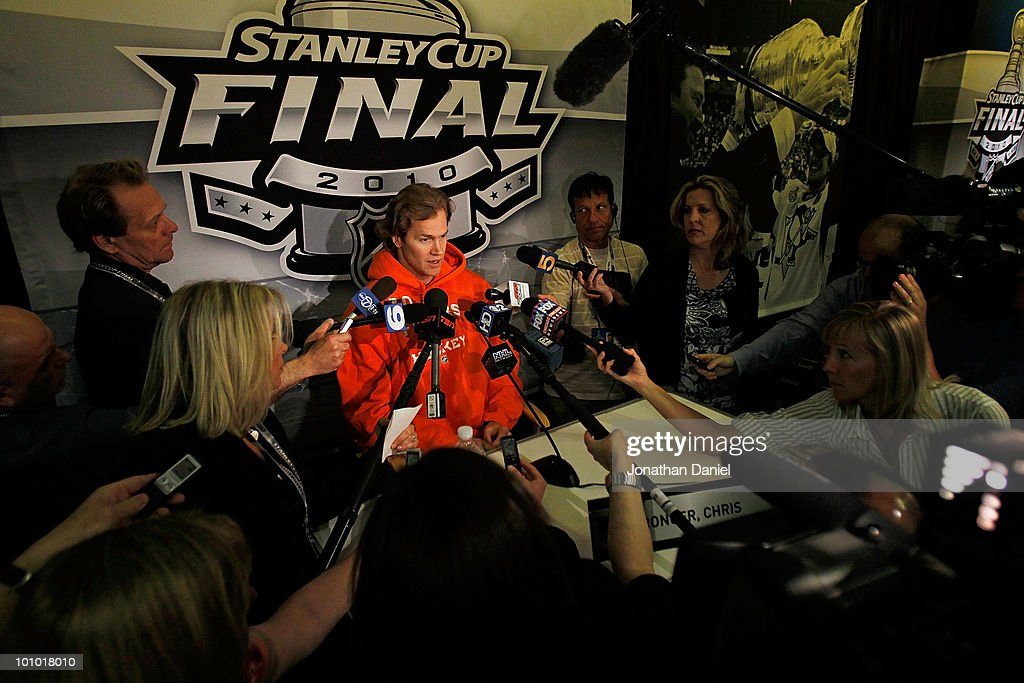 Chris Pronger of the Philadelphia Flyers answers questions during Stanley Cup media day at the United Center on May 27, 2010 in Chicago, Illinois.