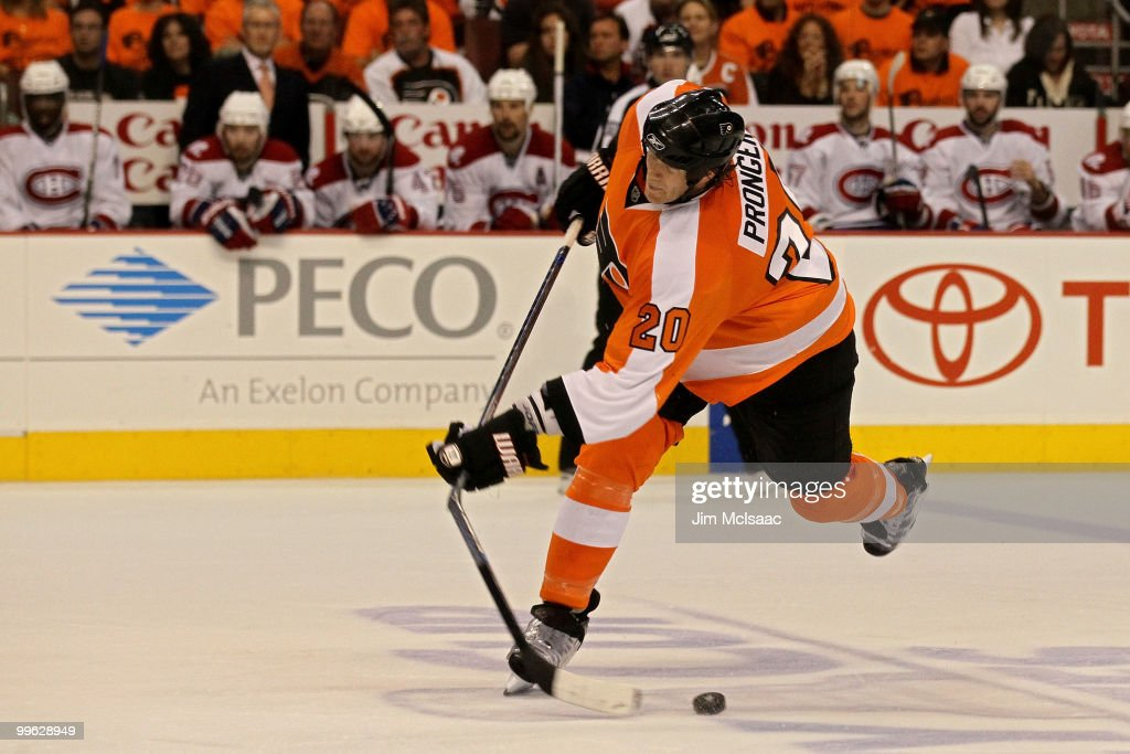 Chris Pronger #20 of the Philadelphia Flyers breaks his stick on a shot against the Montreal Canadiens in Game 1 of the Eastern Conference Finals during the 2010 NHL Stanley Cup Playoffs at Wachovia Center on May 16, 2010 in Philadelphia, Pennsylvania.