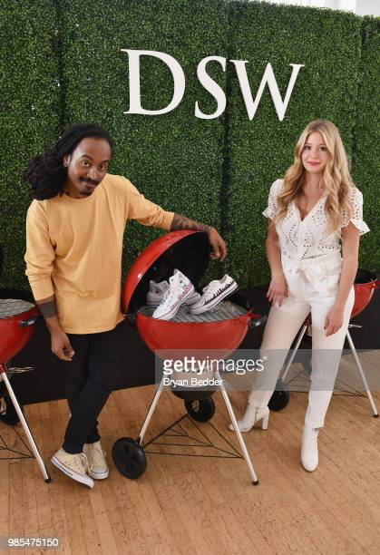 Chris Pyrate and Jordana Schrager customize DSW shoes at DSW Block Party hosted by Olympians Adam Rippon and Mirai Nagasu on June 27 2018 at Ramscale...