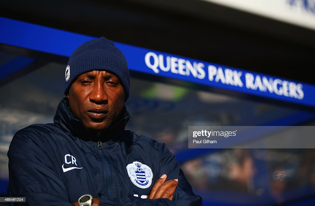 Chris Ramsey manager of QPR looks on prior to the Barclays Premier League match between Queens Park Rangers and Tottenham Hotspur at Loftus Road on March 7, 2015 in London, England.