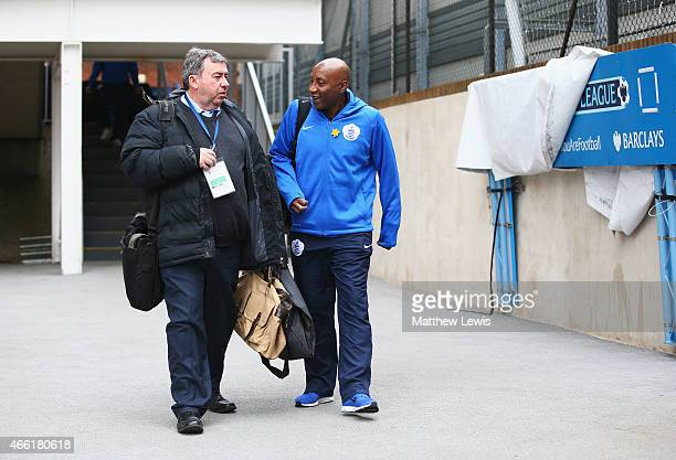 Chris Ramsey manager of QPR talks to BBC commentator Jonathan Pearce as they arrive for the Barclays Premier League match between Crystal Palace and...
