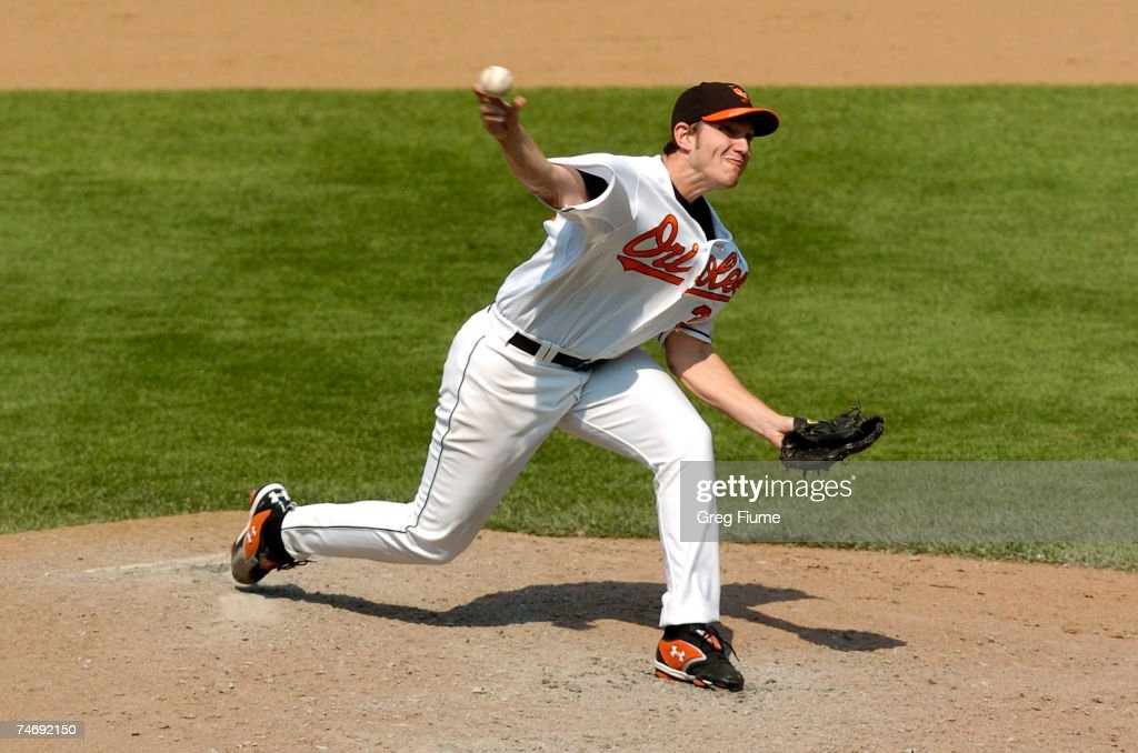 Chris Ray #37 of the Baltimore Orioles pitches against the Arizona Diamondbacks on June 17, 2007 at Camden Yards in Baltimore, Maryland. The Diamondbacks defeated the Orioles 6-4.