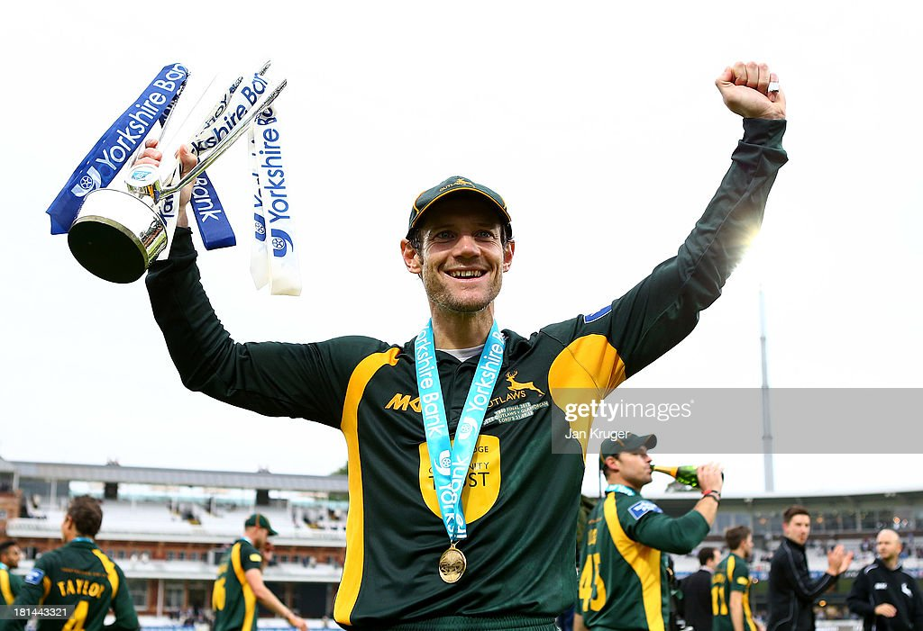 Chris Read of Nottinghamshire celebrates with the trophy after the Yorkshire Bank 40 Final match between Glamorgan and Nottinghamshire at Lord's Cricket Ground on September 21, 2013 in London, England.