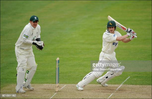 Chris Read of Nottinghamshire hits a boundary during his innings of 125 in the LV County Championship match between Nottinghamshire and...