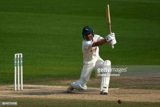 Chris Read of Nottinghamshire hits out during day three of the Specsavers County Championship Division Two match between Sussex and Nottinghamshire...