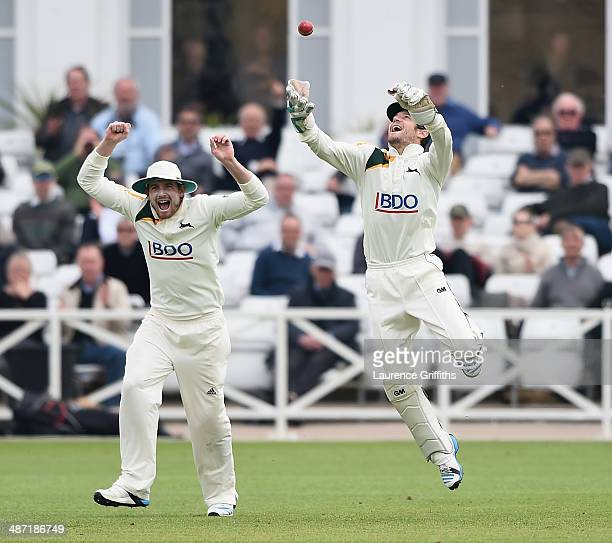 Chris Read of Nottinghamshire jumps for joy as he catches Ian Bell of Warwickshire during day two of the LV County Championship division one match...