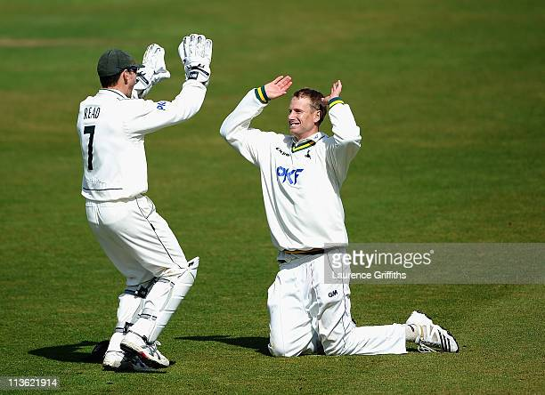 Chris Read of Nottinghamshire rushes to congratulate Adam Voges after catching Andrew Gale of Yorkshire during the LV County Championship match...