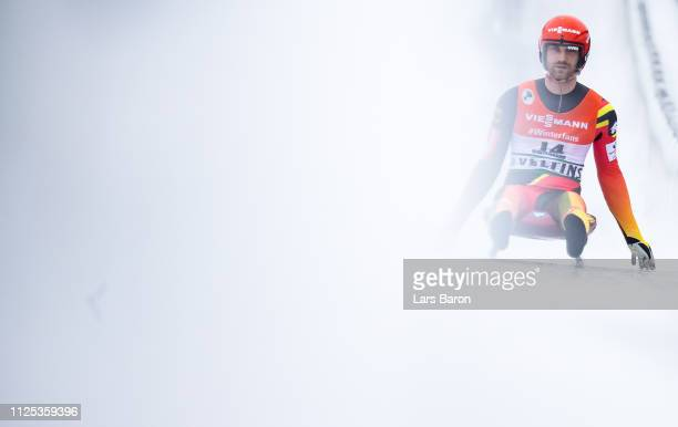 Chris Rene Eissler of Germany is seen after the final run of the Luge Men's Single World Championship at Veltins EisArena on January 27 2019 in...