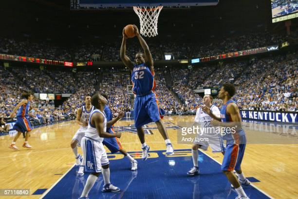 Chris Richard of the Florida Gators makes a rebound during the game against the Kentucky Wildcats on March 5, 2005 at Rupp Arena in Lexington,...
