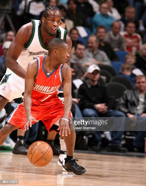 Chris Richard of the Minnesota Timberwolves guards against Earl Boykins of the Charlotte Bobcats on March 4 2008 at the Target Center in Minneapolis...