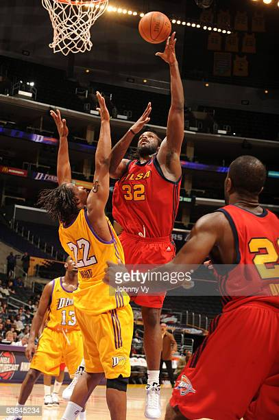 Chris Richard of the Tulsa 66ers puts up a shot against Marcus White of the Los Angeles DFenders at Staples Center on December 7 2008 in Los Angeles...
