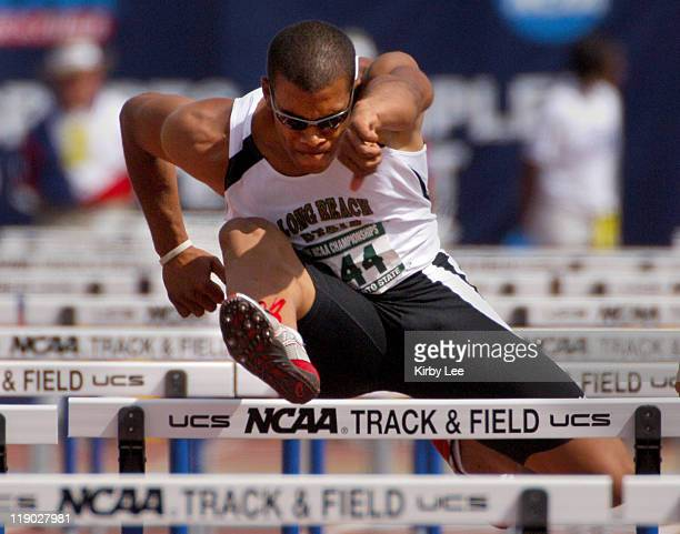 Chris Richardson of Long Beach State competes in the decathlon 110-meter high hurdles in the NCAA Track & Field Championships at Sacramento State's...