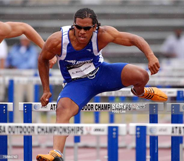 Chris Richardson of Long Beach State timed 14.76 in the decathlon 110-meter hurdles for 879 points in the USA Track & Field Championships at Carroll...