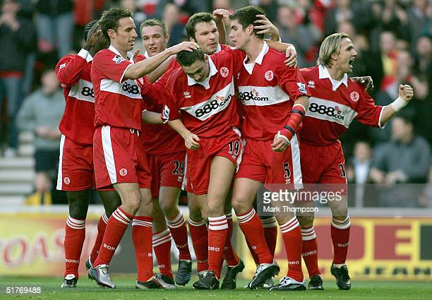 Chris Riggott of Middlesbrough celebrates his goal with his team mates during the FA Barclays Premiership match between Middlesbrough and Liverpool...