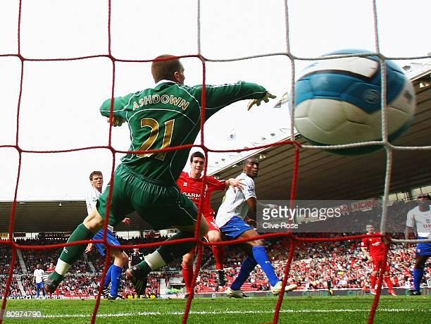 Chris Riggott of Middlesbrough scores past Jamie Ashdown of Portsmouth the Barclays Premier League Match between Middlesbrough and Portsmouth at...