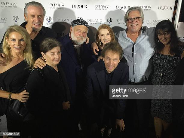 Chris Riley Pat Riley Nan Bush Bruce Weber Jerry Bruckheimer Linda Bruckheimer Micky Arison and Madeline Arison circa December 2015 in Miami Florida