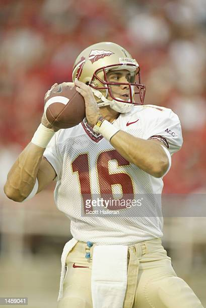 Chris Rix of the Florida State University Seminoles drops back to pass against the University of Maryland Terrapins on September 14, 2002 at Byrd...