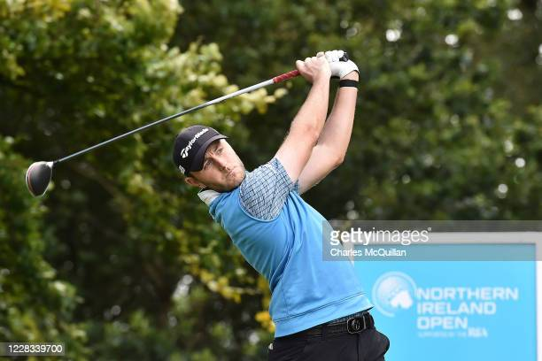 Chris Robb hits his drive off the 10th tee during day two of the Northern Ireland Open at Galgorm Spa & Golf Resort on September 4, 2020 in...