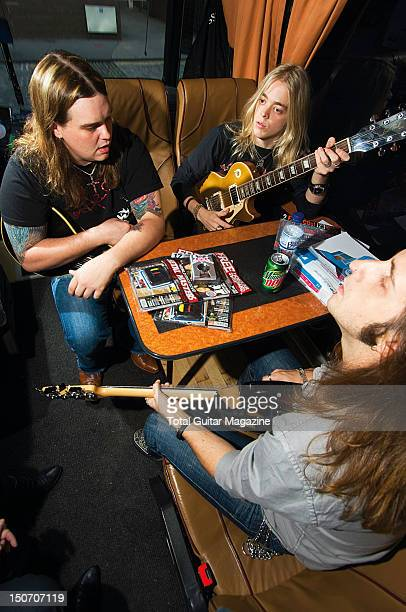 Chris Robertson Ben Wells and Jon Lawhon of American hard rock group Black Stone Cherry onboard their tour bus taken on October 17 2007